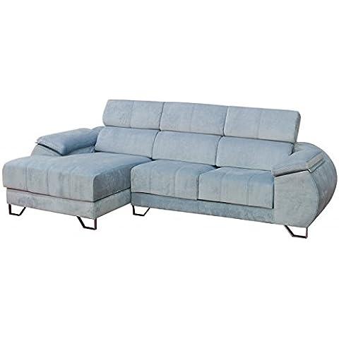 Sofá de dos plazas más chaiselongue izquierda tapizado en color celeste con hilo contrastado