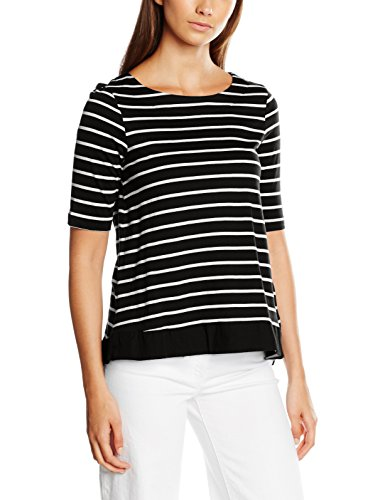 Vero Moda Vmsui Stripe 2/4 Top Pre, T-Shirt Femme Noir (Black Stripes:White)