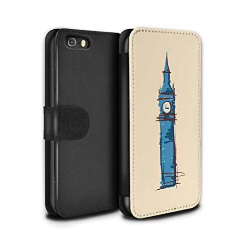 Stuff4 Coque/Etui/Housse Cuir PU Case/Cover pour Apple iPhone 5/5S / Moulin/Hollande Design / Monuments Collection Big Ben / Londre