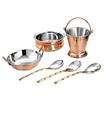 VPSK Hand Made Steel Copper Kitchen Set of 1 Bucket capacity 300ml, 1 Handi capacity 300ml, 1 Kadai capacity 350ml and 3 spoon for use serving Restaurant Ware Hotel Ware and Home Gift Item. Combo pack of 6 items