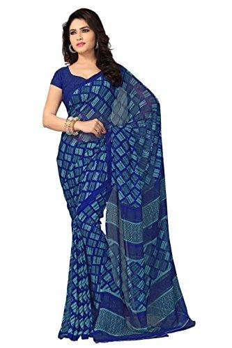 Vaamsi Georgette Saree with Blouse Piece (Vega3096_Blue_One Size)