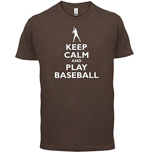 Keep Calm and Play Baseball - Herren T-Shirt - 13 Farben Schokobraun