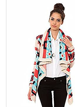 yall Señoras Suéter Cardigan Escudo De Solapa De Ocio De Impresión