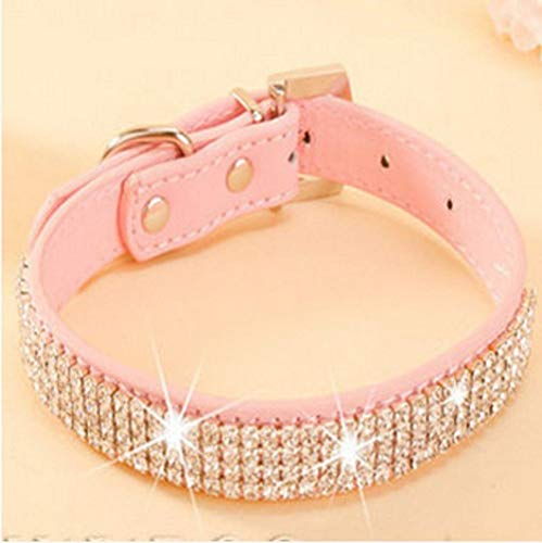 PENVEAT Bling Rhinestone PU Leather Crystal Diamond Puppy Collar Pet Dog Collars Pink,Red,L (Red Dog Diamond Collar)