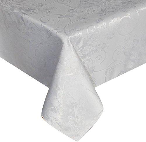 BLUELSS Nappe Fleurs de luxe Nouvelle nappe imperméable pour couvrir une table de café cuisine Décoration jardin rectangulaire ,Argent gris, 150 x300 cm