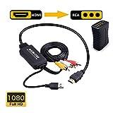 Cable Adaptador HDMI a RCA, HDMI a RCA, 1080P HDMI a AV 3RCA CVBs Composite...