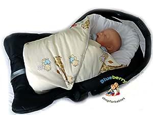 BlueberryShop Luxury Classic Car Seat Swaddle Wrap/Blanket for Newborn Baby, Cream Giraffe