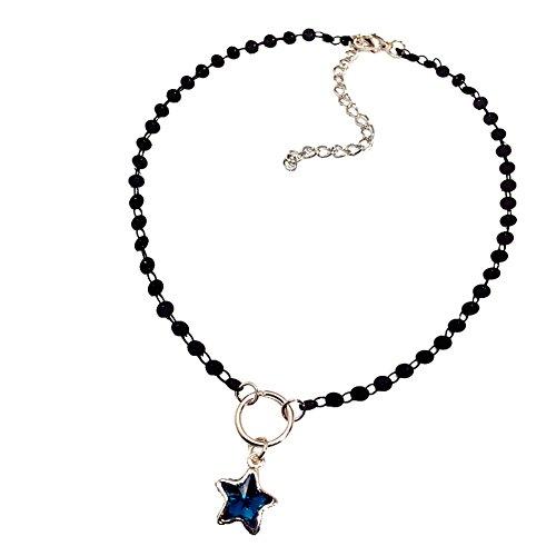 Z&HA Dame Fünf-Stern Anhänger Lucky Star Kristall Anhänger Schlüsselbein Kette Student Cute Fashion Temperament Kurze Halskette, Temperament Schmuck Geschenk Frauen Zubehör -