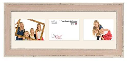 Inov8 PFES-LWPK-TA2 Traditionell Briten Foto und Bilderrahmen, Dreifach Blende, 10 x 15 cm x 3L, groß wasch rosa