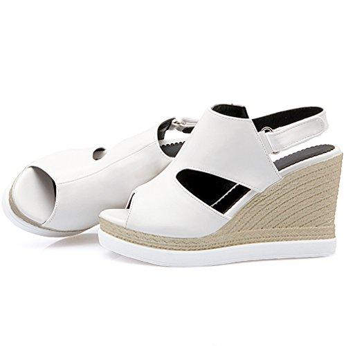 UH Femmes Sandales à Talons Compensees Slingback de Boucle Bout Ouvert Confortables Simple Blanc