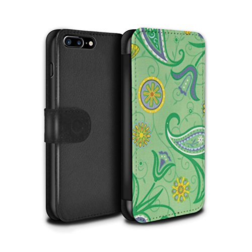 Stuff4 Coque/Etui/Housse Cuir PU Case/Cover pour Apple iPhone 7 Plus / Bleu/Jaune Design / Printemps Collection Jaune/Vert