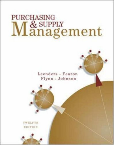 Purchasing And Supply Management by Michiel Leenders (2001-10-31)