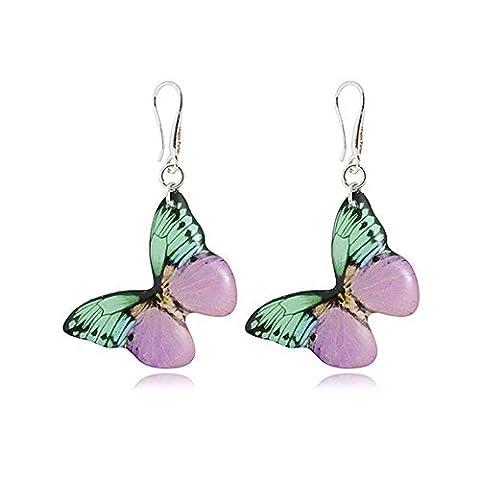 Romantische Mint und Hell Lila Tropfen Schmetterling Ohrringe für Sie