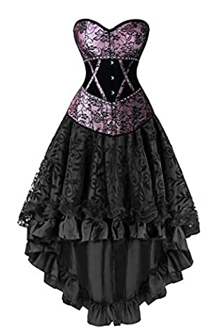 Kimring Women's 2 Pcs Deluxe Vintage Victorian Floral Satin Velvet Overbust Corset with Dancing Skirt Set Purple/Black Medium