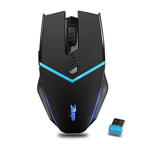 ZELOTES F12 2,4G 2400DPI Mouse Senza Fili con Ricevitore Nano,6Tasti, LED Mouse Wireless Mouse da Gioco per Gamer,Notebook,PC,Mac,Computer,Laptop(Nero)