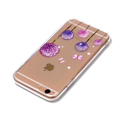 Cover iPhone 5 5S SE, E-Unicorn Custodia Cover Apple iPhone 5 5S SE Trasparente con Disegni Fenicotteri 3D Silicone Morbido TPU Gomma Morbida Colorate Ultra Slim Bumper Case Retro Elegante Modello Pro Dente di Leone Fiore