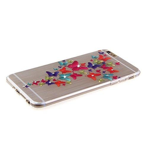 Etche Housse Etui pour iPhone 6 Plus/6S Plus 5.5 pouces,Soft Silicone TPU Coque Cover pour iPhone 6 Plus/6S Plus 5.5 pouces,Etui de Protection Cas en caoutchouc en Ultra Slim Souple Clair Gel Bumper L papillon coloré