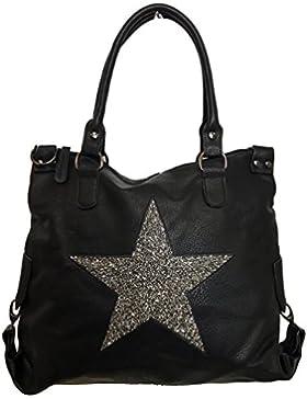 STERN Glitzer Damen Tasche Star Fashion Shopper Henkeltasche PU LEDER Kunstleder