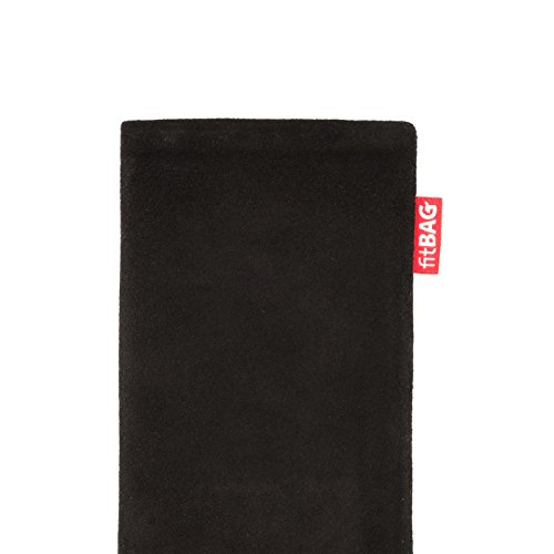 fitBAG Groove Silber Handytasche Tasche aus feinem Folienleder Echtleder mit Microfaserinnenfutter für Apple iPhone 5 Folk Schwarz