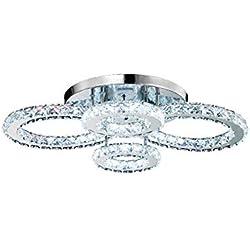 LED Kristall Deckenleuchte 60W Moderne Kreative Design LED Lampen Vier Ringe Decken Schlafzimmer Kristalllampe Deckenlampe für Wohnzimmer Esszimmer Schönes Kronleuchter, 68*56*22cm, warmweißes