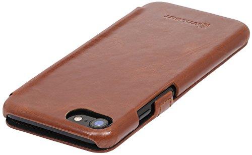 StilGut Book Type Case mit Clip, Hülle Leder-Tasche für iPhone 8 & iPhone 7. Seitlich klappbares Flip-Case aus Echtleder für das Original iPhone 8 & iPhone 7 (4,7 Zoll), Schwarz Nappa Cognac