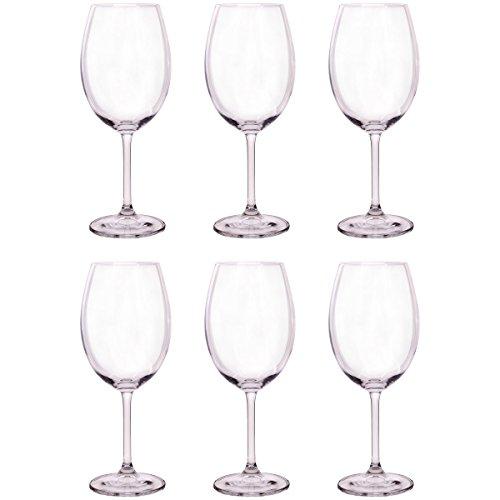Bohemia Crystal - Juego de 6 copas de vino de 580 ml, color rojo y blanco