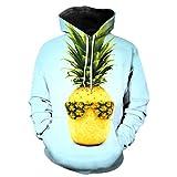 Unisex Kreative Frucht Ananas Druck 3D Hoodies Hip Hop Kapuzen Trainingsanzug Fruit Hoodie XXL