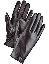 Black Leather Gloves. Premium, Super Soft Goat Leather, Touchscreen 'Digital Touch' Gloves by TORRO (For hand size 21cm, Black)