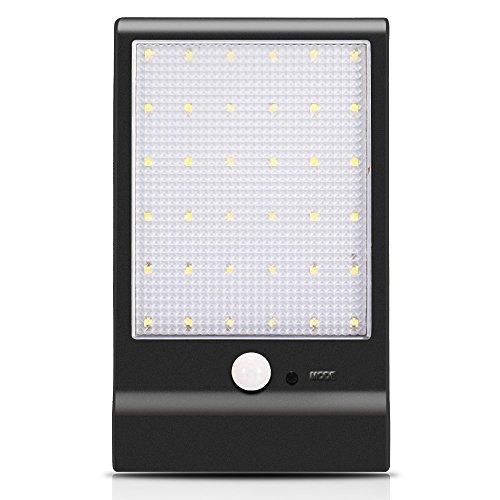Leuchten Außenbeleuchtung Solarleuchte 36 LED Licht mit Bewegungsmelder 450LM, vier Lichtmodus Wandleuchte für Balkon,Terrasse, Garage, Eingang,Garten, Straße