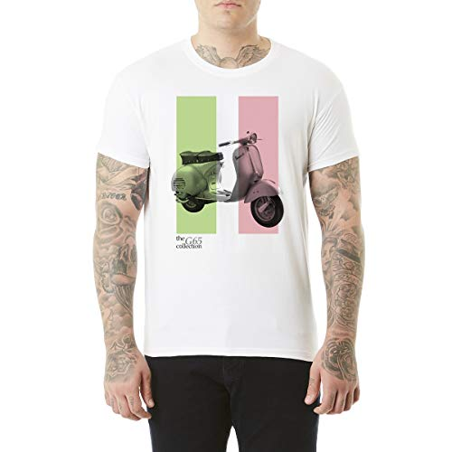 Northern Soul Vespa Scooter Italian Flag. Herren T-Shirt. Weiss/XL
