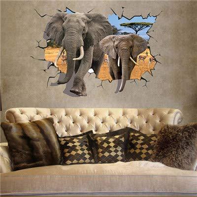 Myytcy Africano Elefantes Animales Antílope Etiqueta de La Pared Poster Dormitorio de...