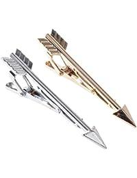 Clip de Corbata de Negocios, 2 UNIDS/Conjunto Lujo Flecha Forma Hombres Acero Inoxidable Color sólido Clip de Corbata de Boda Corbata Exquisita Corbatas de Corbata Conjunto de Joyas