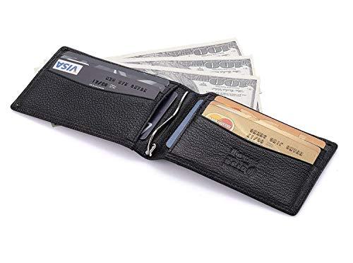 flintronic ® Kreditkartenetui Leder, Portemonnaie mit RFID-Blocker Slim Wallet Holder Herren/Damen Visitenkartenetui Echtleder Geldbörse Geldbeutel Geldklammer Ausweis und Kreditkartenetui Schwarz