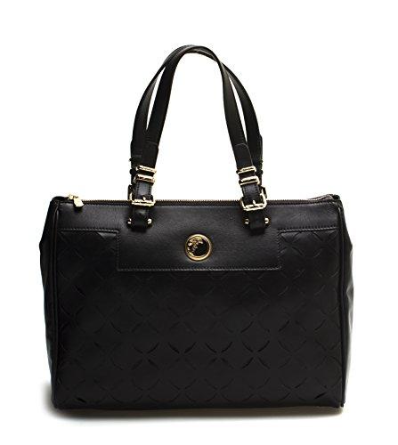 Versace-Collection-Women-Leather-Borsa-Laser-Cut-Tote-Handbag-Black