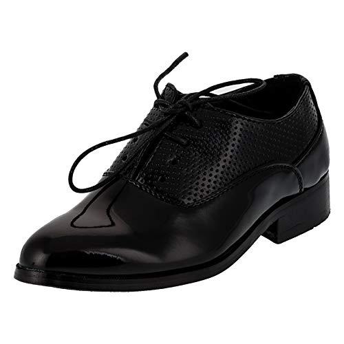 Festliche Jungen Anzug Schuhe mit Leder Innensohle für Hochzeit Party Glanzoptik M332sw Schwarz 31 EU (Für Kommunion Schuhe Jungen)
