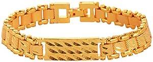 Handicraft Kottage Brass Rudraksha Gold Plated Chain Bracelet For Men