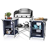 Cocina de camping Málaga Campart Travel KI-0732 - Con paravientos - Dos compartimentos de almacenamiento
