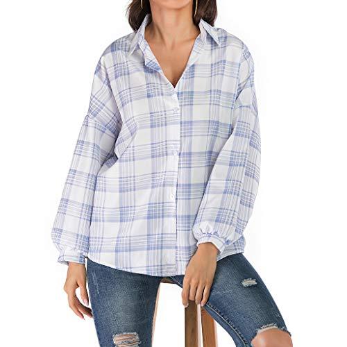 Frauen Tops,Jessboy Mode Frauen drehen unten Kragen-langes Hülsen-Plaid-Druck knöpft loses T-Shirt Plaid Unten