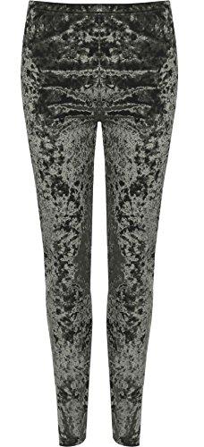 Islander Fashions Womens Plus Size Ghette di velluto schiacciato Pantaloni elasticizzati elasticizzati da donna Pantaloni IT 44-58 Dark Grey