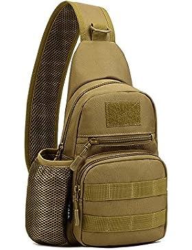 Sling Rucksack Milltär Brusttasche Molle Umhängetasche Cross Body Bag Mit einem Gurt Unbalance Rucksack Zum Fahradfahren...