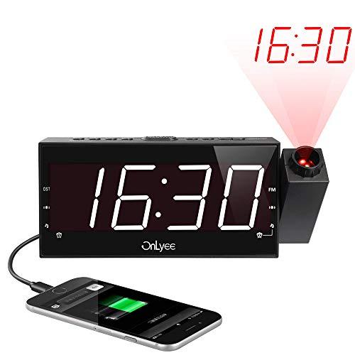 Projektionswecker, FM Radiowecker, 7\'\' große LED-Anzeige mit 3 Helligkeitsstufen, Dual-Alarms & 15 Lautstärke, Sleeper Timer, USB-Anschluss, 180° Projektor, Flip-Anzeige Wecker für Schlafzimmer