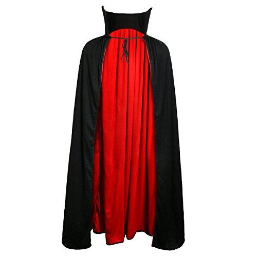g Satan Zauberer Cape Halloween Karneval Party Dracula Kostüm für Erwachsene Schwarz Rot (137cm) (Vampir-umhänge)