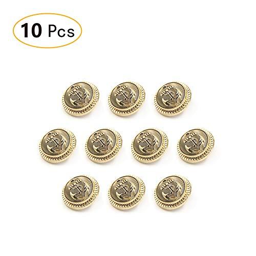 Tong Yue Antik Messing Metall Schaft-Anker-Knöpfe, 10Stück, Legierung, gold, 23 mm (Druckknöpfe Aus Metall Antik-gold)