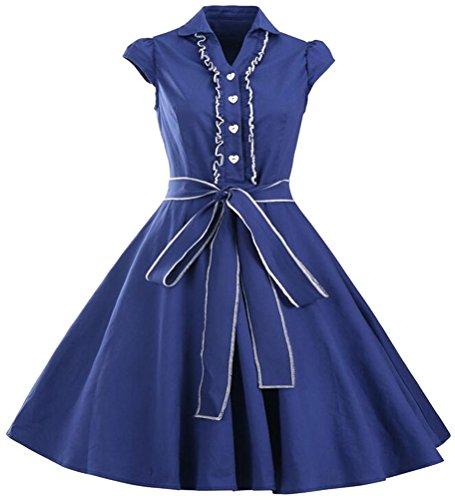 Brinny Femme Robe Vintage Ann¨¦es 50 Robe de Bal Polka Pin-up 'Audrey Hepburn' Rockabilly pour Soir¨¦e Cocktail Bleu