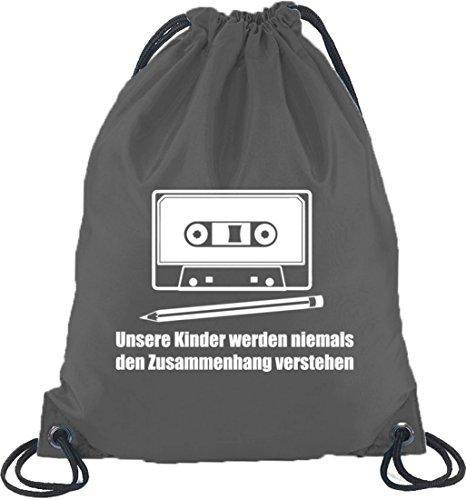 Shirtstreet24, Bleistift - Kassette, Turnbeutel Rucksack Sport Beutel Dunkelgrau