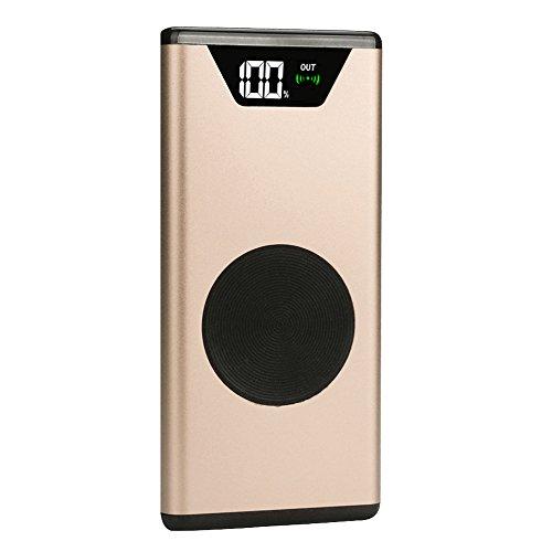 es Kabelloses Laden von mobiler Energie, 10000mAh Portable Qi Wireless Power Ladegerät Dual USB Externe Ladegerät Power Bank für Samsung Galaxy S9 / S9 Plus (Gold) ()