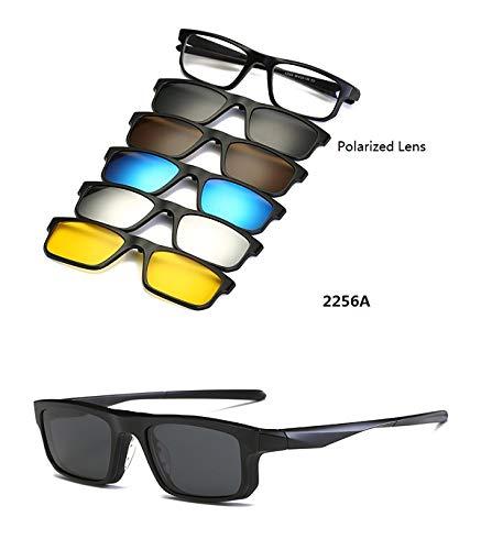 LKVNHP (5 Objektiv Clip On Sonnenbrille Männer Frauen Magnetische Polarisierte + Verspiegelte Sonnenbrille Für Myopie Tag Nacht Fahren Tr90 Rahmen2256A Set