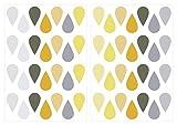 dekodino Sticker mural gouttes de pastel gris jaune d'été 56 pièces set