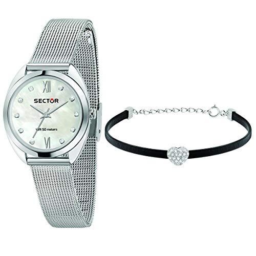 Sector No Limits Special pack, Collezione 955, composto da orologio da donna, in acciaio e cristalli, e bracciale con elemento a forma di cuore con cristalli - R3253518505