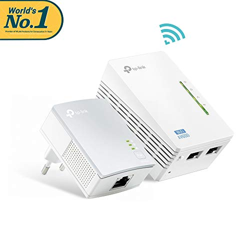 TP-Link TL-WPA4220 Kit Powerline WiFi, AV600 Mbps su Powerline, 300 Mbps su WiFi 2.4 GHz, 2 Porte Ethernet, Plug and Play, WiFi Clone, HomePlug AV (Kit contiene 1 ricevitore e 1 extender)